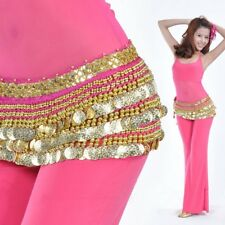 New Belly Dancing Hip Scarf Skirt Wrap Chiffon Sequence Golden Coins Costume