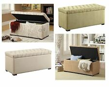 Avenue Six Sahara Tufted Fabric & Wood Storage Ottoman Bench Seat w/Lift Up Top