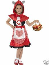 Girls Little Red Riding Hood Costume Fairytale Fancy Dress Costume 4-12 yrs