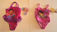 Nickelodeon Dora the Explorer 1 Piece swimsuit Pink Flowers or Peace Sign 18M 2T