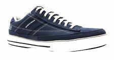 Skechers Arcade Chat Men's Navy Blue & White Canvas Lace Up Deck Shoes New