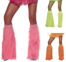 80s 1980s Fancy Dress Deluxe Fur Bootcovers Club Party Luminous Colours New