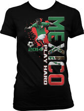 Mexico Play Hard World Cup 2014 Mexican Soccer Player Girls Junior T-Shirt