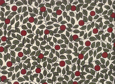 Liberty style Leaves & RED Berries Lawn Cotton Fabric |140cm wide | dressmaking