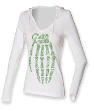 Green Hand Grenade (Jesse Pinkmans T)......ON LADIES LONG SLEEVE HOODED T-SHIRTS
