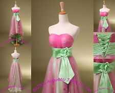 Stock Pink With Green Hi-Low Wedding dresses Bridal Gowns size 4 6 8 10 12 14 16