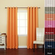 2 Piece Solid Faux Silk Grommet Window Curtain Panel 58 by 84 Inch