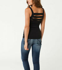 Metal Mulisha Maidens KISS KISS TANK Black with Back Strapping Detail Scoop Neck