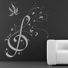Floral Treble Clef Wall Sticker Music Wall Decal Art