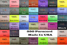 550 Paracord Mil-Spec-Type III 7 strand parachute cord USA 50 100 ft 550 cord