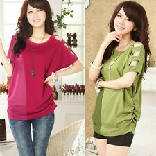 Women Beads Cut-out Batwing Sleeve Chiffon Patchwork T-shirt Fashion Tops Tee