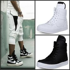 Men's British Lace Up High-Top Sneakers Boys Fashion Faux Leather Ankle Boots