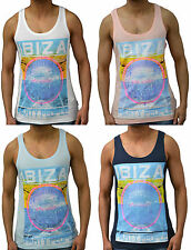 Mens Designer Branded Ibiza Party Style Vest Tank Gym Top T Shirt Sleeveless Tee