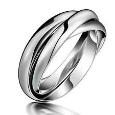 Stainless Steel Silver Colour Couple Ladies Women Ring Size J - S