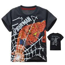 Kids Boys Girls Toddlers Top Cartoon Tee Hero SpiderMan Clothes T-shirts Age 2-8
