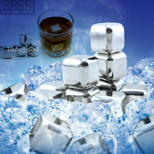 2/4/6/8pcs Stainless Steel Ice Cubes Glacier Rocks Whiskey Freezer Stones Cooler
