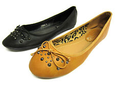 Ladies Spot On Ballerina Shoes with Bow Trim & Stud Detail 2 Colours Style F8864