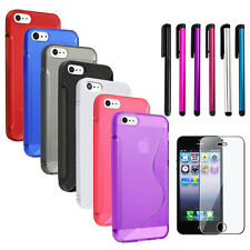 Red/Blue/Pink/Purple/Black/White S Curve TPU GEL Case+Stylus+SPT For iPhone 5 5S