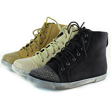 Fashion Top High Top Rhinestone Round Toe Lace Up Zipper Flat Sneaker Shoes