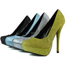 Women Platform High Heel Glitter Round Toe Party Dress Stilettos Pump Shoes