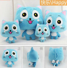 Plush toy stuffed doll Fairy Tail Happy blue cat kitten lover birthday gift 1pc