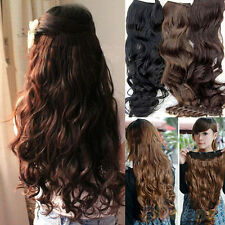 Unique Womens Full Head Clip Curly Wavy Synthetic Hair Extension Extensions BG4U