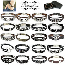 2016 MENS LADIES REAL GENUINE LEATHER & STAINLESS STEEL BRACELET / WRISTBAND