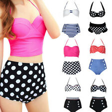 Womens Pin Up Retro Swimsuit Beach Bra Tops & Bottoms High Waist Bikini Swimwear