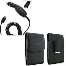 Car Charger + Vertical Leather Clip Case Pouch for LG Cell Phones ALL CARRIERS