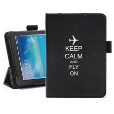 "For Samsung Galaxy Tab 3 7.0 7"" Leather Cover Stand Keep Calm Fly On Airplane"
