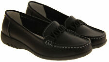 Ladies Black LEATHER Slip On Loafers Womens WIDE FITTING EEE Work Shoes