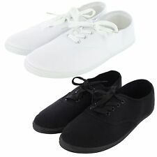Womens Canvas Lace Up Shoes Casual Classic Sneakers Flat Plimsoll Skater Slip On