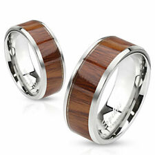 Stainless Steel Wood Center Inlaid Wedding Band Ring Size 5-13