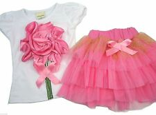 Girls Pink Lace Flower Shirt Tutu Skirt for Party Wedding Birthday ~Ages 2 to 5