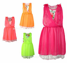 New Girls Flower Floral Summer Holiday Dress Pink Peach Age 2 4 6 8 10 years