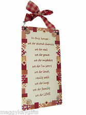 'How to Really Love A Child' & Others  Wooden hanging wall plaque - Cream & Red