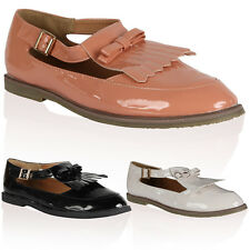 Womens Summer Ladies Geek Smart Cut Out Shiny Loafers Brogues Shoes Size 3-8