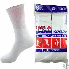 6-12 Pairs Mens White Tube Crew Sport Cushioned Socks Cotton New Long Size 9-15