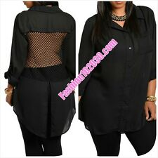 SEXY MESH/NET BACK, HIGH/LOW, BUTTON FRONT, ROLLED SLEEVE, SHEER, PLUS SIZE TOP