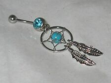 Stainless Steel Dream Catcher Belly Navel Ring PICK STONE COLOR