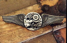 """Pin Badge Steampunk Wings Gear 4"""" Metal Device Safety Catch Steam Works 540130"""