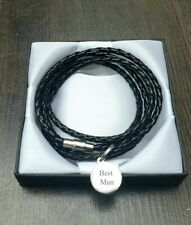 MENS BLACK LEATHER WRAP BRACELET WITH ENGRAVED CHARM/PERSONALISED FREE GIFT BOX
