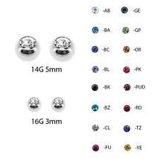 Pair of 316L Stainless Steel Threaded Replacement CZ Gem Balls 16&14 Gauge