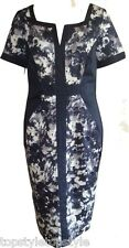 NEW MARKS AND SPENCER  PER UNA COTTON RICH WATER PAINT BLOOM FLORAL NAVY DRESS