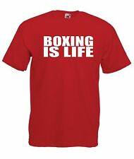BOXING IS LIFE mma tee gym gift Mens Womens T SHIRT TOP size 8-16 s m l xl xxl