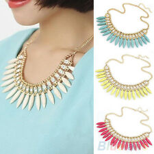 Womens Gorgeous Occident Turquoise Crystal Exquisite Tassel Choker Necklace B24U