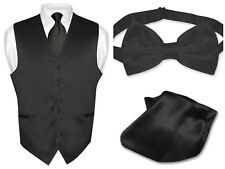 Men's BLACK Dress Vest NeckTie Bow Tie and Hanky Set for Suit or Tuxedo