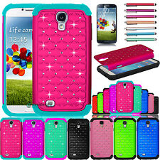 Hybrid Rugged Rubber Bling Crystal Case Cover for Samsung Galaxy S4 S IV i9500