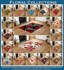 NEW X LARGE - LARGE - MEDIUM - SMALL 10MM THICK MULTI COLOUR FLOWER  PATTERN RUG