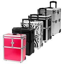 Rolling Makeup Artist Aluminum Train Hair Stylist Lock Storage Case Organizer